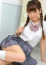 Mizuho Shiraishi with sexy pigtails shows ass under skirt